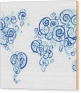 Columbia University Colors Swirl Map Of The World Atlas Wood Print