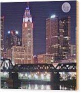 Columbus By Moonlight Wood Print