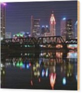 Columbus Ohio Reflecting In The Scioto River Wood Print