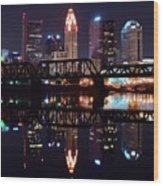 Columbus Ohio Reflecting On The River Wood Print