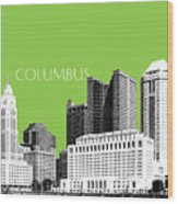 Columbus Ohio Skyline - Olive Wood Print