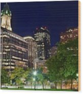 Columbus Park Boston View Wood Print