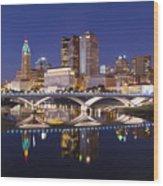 Columbus Skyline Reflection Wood Print