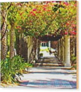 Column Flowers Wood Print