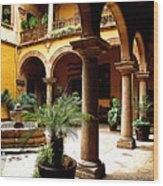 Columns And Courtyard Wood Print by Mexicolors Art Photography
