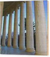 Columns At Jefferson Wood Print by Megan Cohen