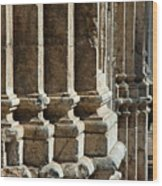 Columns Creating The Facade Of A Gothic-style Church Wood Print
