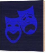 Comedy N Tragedy Black Blue Wood Print