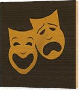 Comedy N Tragedy Black Orange Wood Print