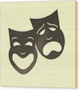 Comedy N Tragedy Neg Sepia Wood Print