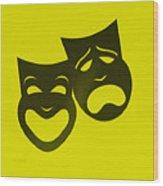 Comedy N Tragedy Neg Yellow Wood Print