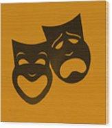 Comedy N Tragedy Orange Wood Print