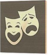 Comedy N Tragedy Sepia Wood Print