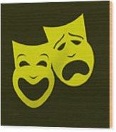 Comedy N Tragedy Yellow Wood Print