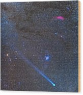 Comet Lovejoys Long Ion Tail In Taurus Wood Print