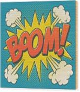 Comic Boom On Blue Wood Print