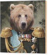 Commander Bear Wood Print