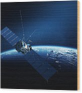 Communications Satellite Orbiting Earth Wood Print