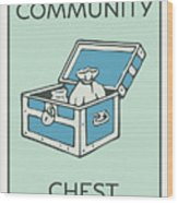 Community Chest Vintage Monopoly Board Game Theme Card Wood Print