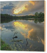 Community Lake #8 Sunset Wood Print