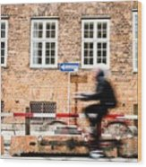 Commuter Going To Work By Cycle In Copenhagen Wood Print