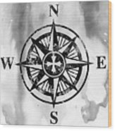 Compass-black Wood Print