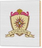 Compass Navigator Coat Of Arms Crest Retro Wood Print