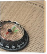 Compass On Stockmarket Cotation In Newspaper Wood Print
