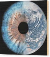 Composite Image Of The Earth And A Human Wood Print