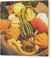 Composition Of Various Gourds In A Basket With Vignetting Wood Print
