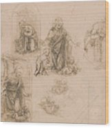 Compositional Sketches For The Virgin Adoring The Christ Child Wood Print
