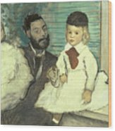 Comte Le Pic And His Sons Wood Print by Edgar Degas