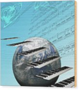 Conceptual Music World  Wood Print