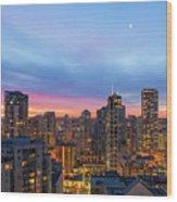 Condominium Buildings In Downtown Vancouver Bc At Sunrise Wood Print