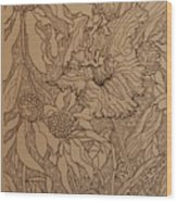 Cone Flowers And Daylily Wood Print