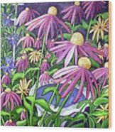 Coneflowers In Gentle Wind Wood Print