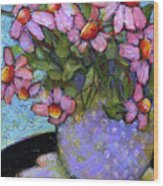 Coneflowers In Lavender Vase Wood Print by Blenda Studio