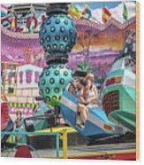 Coney Island Amusement Ride Wood Print