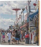 Coney Island Boardwalk II Wood Print