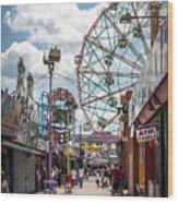 Coney Island Boardwalk IIi Wood Print
