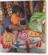 Coney Island Carousel Wood Print