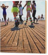 Coney Island Encounters Wood Print