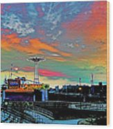 Coney Island In Living Color Wood Print