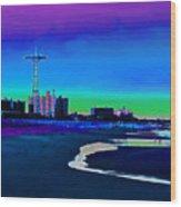 Coney Island Parachute Jump And Beach Wood Print