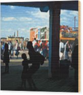 Coney Island Stroll Wood Print