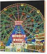 Coney Island's Wonderous Wonder Wheel In Neon Wood Print