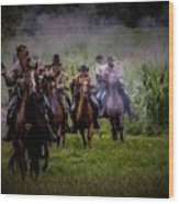 Confederate Cavalry Charge Wood Print