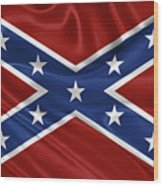 Confederate Flag - Second Confederate Navy Jack And The Battle Flag Of Northern Virginia Wood Print
