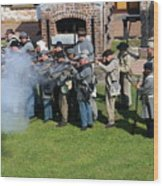 Confederate Soldiers Fire Wood Print