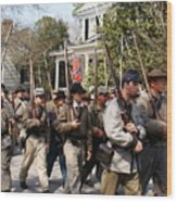 Confederate Soldiers Marching Wood Print